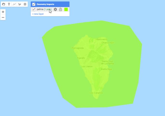 Crear area de interes alredor de la isla